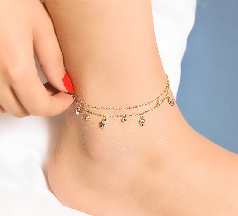 Double Chained Star Anklet - 27 cm