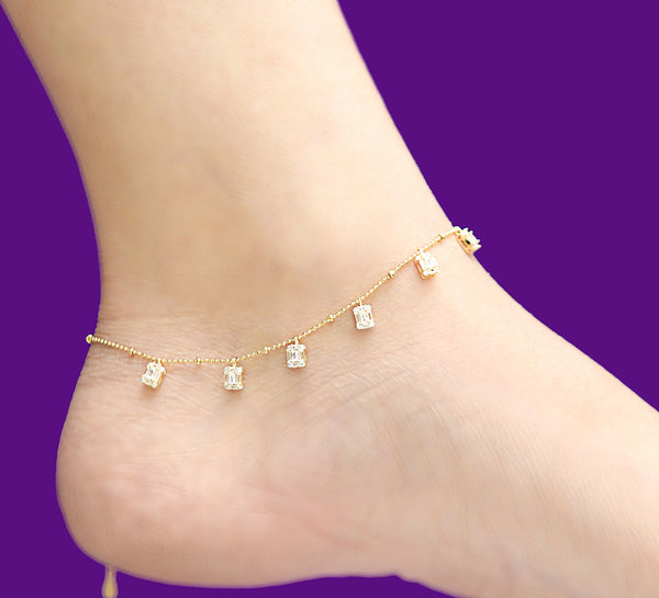 Cubical Pyramid Sterling Silver Anklet - 28 cm