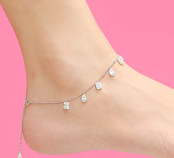 Pyramidal Anklet Sterling Silver - 28 cm