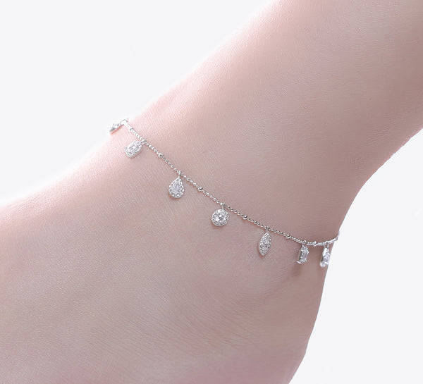 Geometrical Shaped Sterling Silver Anklet - 28 cm