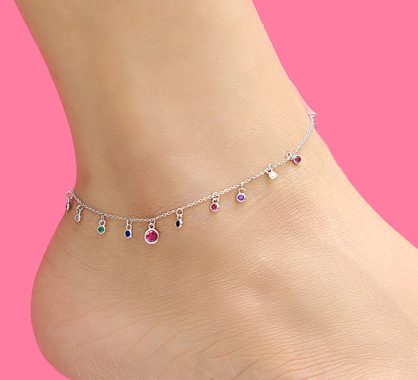 Evil Eye Multicolor Sterling Silver Anklet - 19 cm