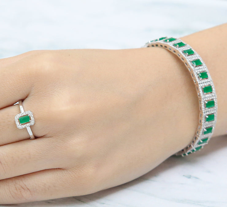 Luscious Emerald Adjustable Bracelet with Ring