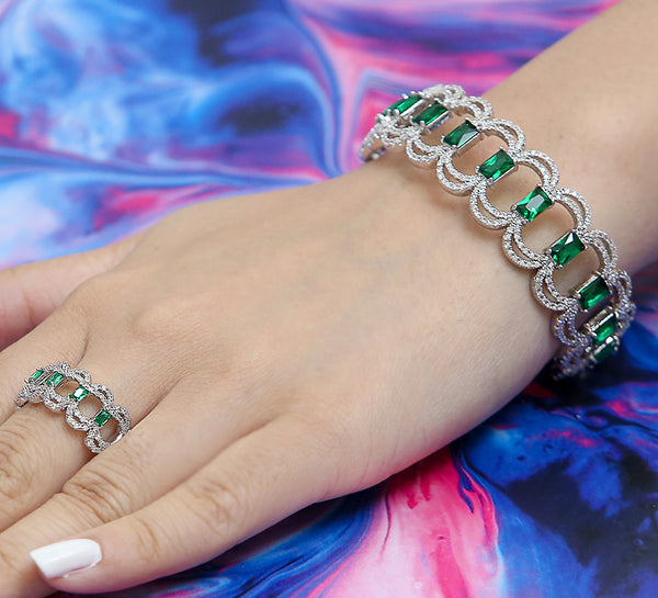 Emerald Magnetic Adjustable Bracelet with Ring - Green