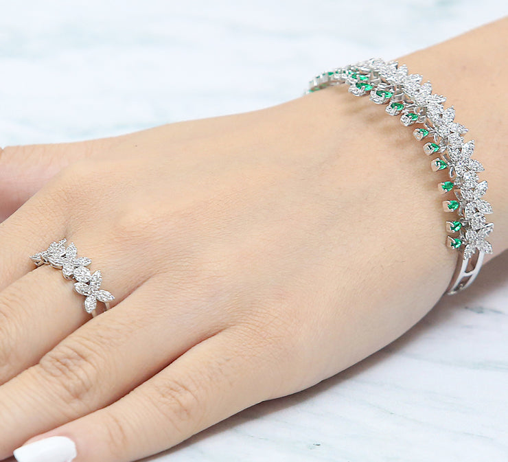 Emerald Crown Bracelet with Ring