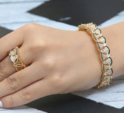 Pyramidal Adjustable Bracelet with Ring