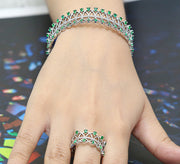 Emerald Linking Adjustable Bracelet with Ring
