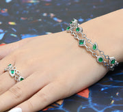 Chunky Emerald Adjustable Bracelet with Ring