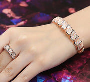 Luscious Leavy Bracelet with Ring - Rose Gold