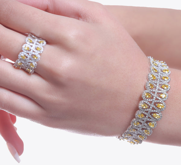 Silver Adjustable Bracelet With Ring