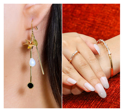 Drop Earring & Cuff Bracelet with Ring