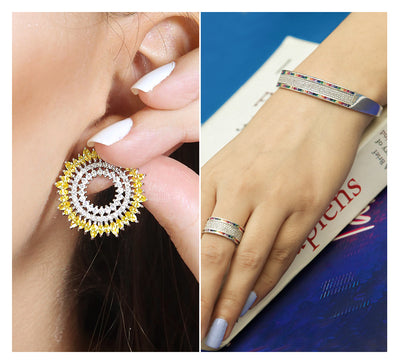 Stud Earring & Cuff Bracelet with Ring