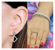 Silver Drop Earring & Adjustable Bracelet