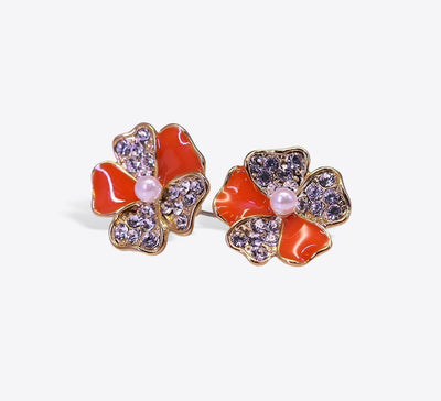 Buy  Pearl With Orange and Silver Stones Studs Online in Pakistan