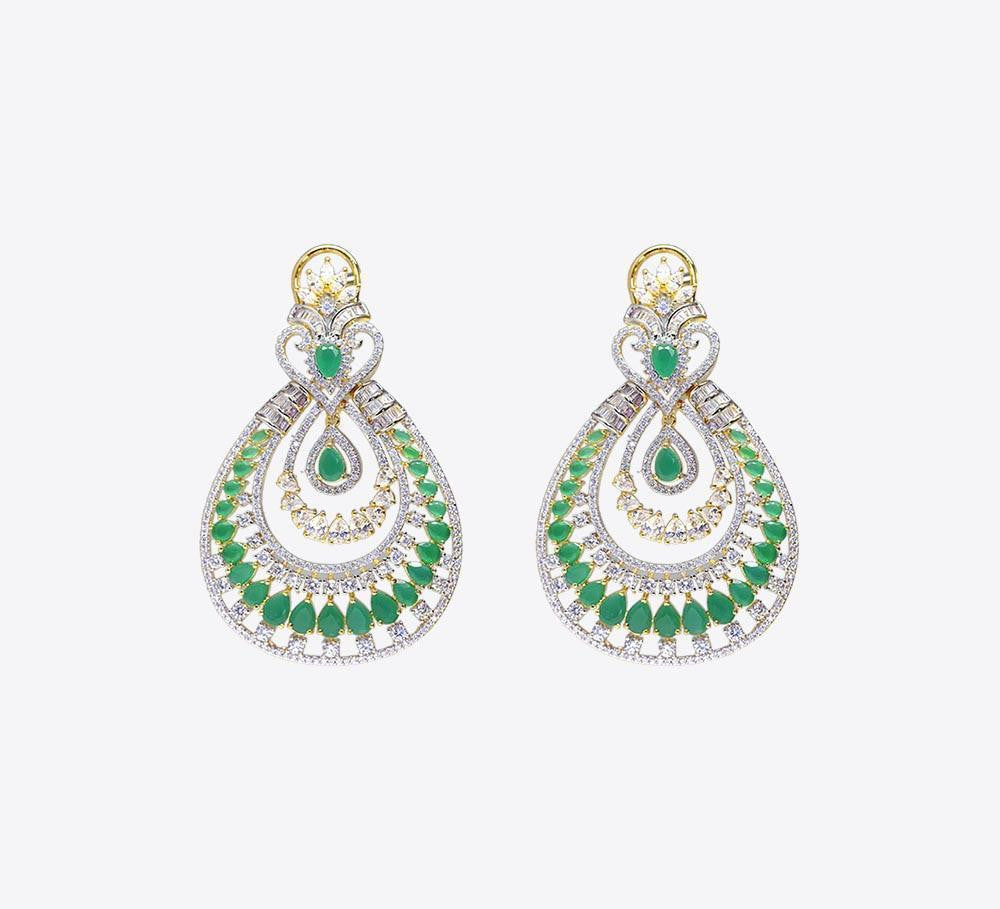 Buy Green Stones Wedding Earring Online in Pakistan