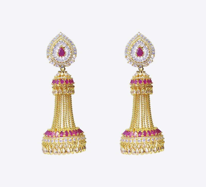 Hot Pink Dangling Drop Earring - ME-2242 - Mahroze