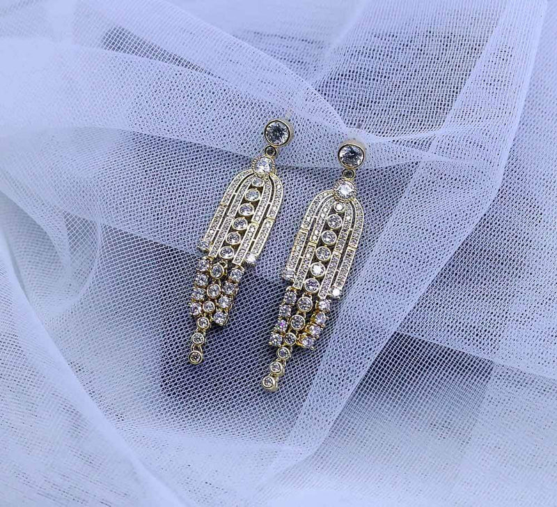 Buy Golden with Silver stones Women Earrings Online in Pakistan