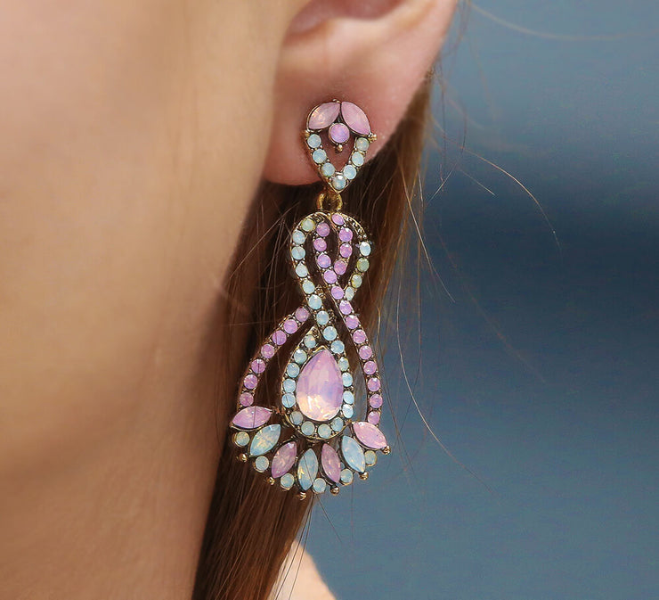 Buy Pink Stone Drop Earrings Online In Pakistan