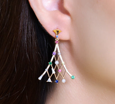 Multicolored Wing Drop Earring