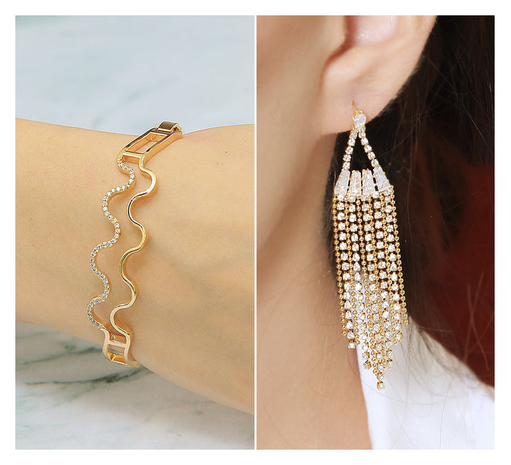 WIDE ZIG ZAG BRACELET & ZIRCONIA TUSSLES EARRINGS