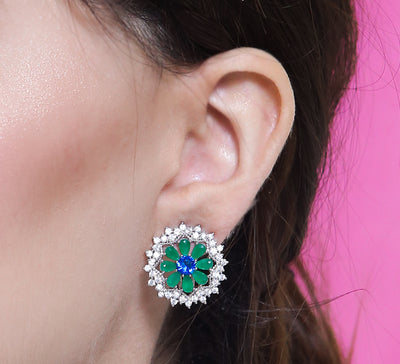 Caged Emerald Stud Earring