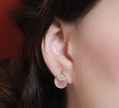 Starry Pink Sterling Studs