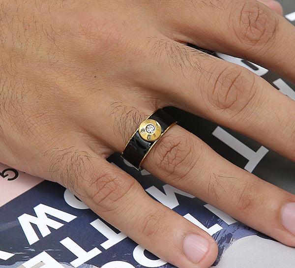 Golden Black Men's Ring