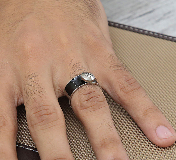 Silver Black Men's Ring