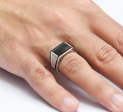 Blocked Black Cubic Sterling Silver Ring