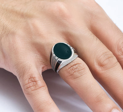 Olive Green Streamline Sterling Silver Ring
