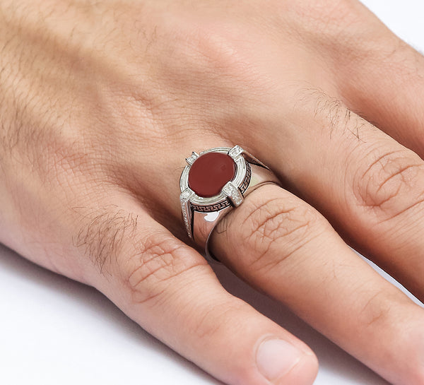 Annular Maroon Sterling Silver Ring