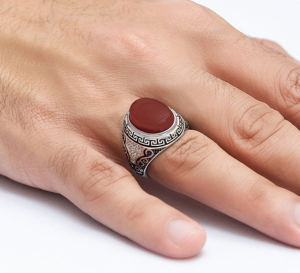 Exotic Maroon Engraved Sterling Silver Ring