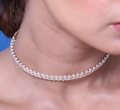 Stacked Pearl Band Choker