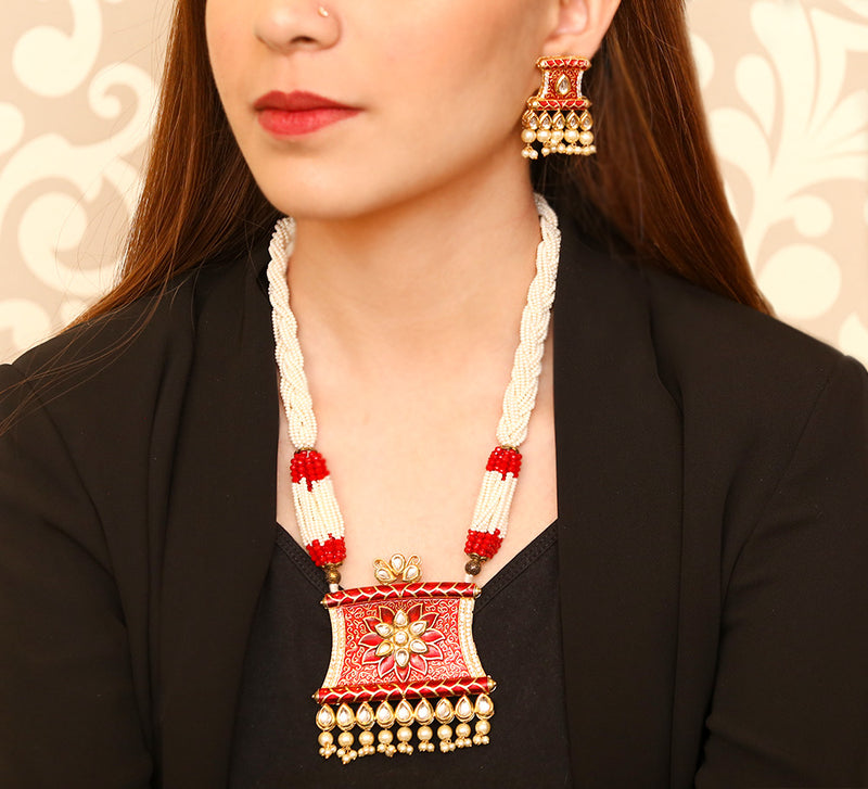 Ethnic Red Necklace Sets : MN-9007