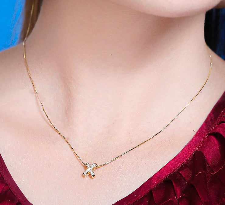 Golden Cross with Silver Stone Pendant