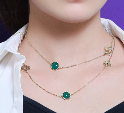 Emerald Double Chain Necklace