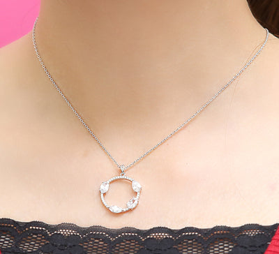 Paved Circle Pendant - Silver