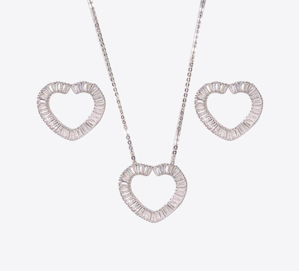 Buy Silver Heart Shape Women Pendant Sets Online In Pakistan