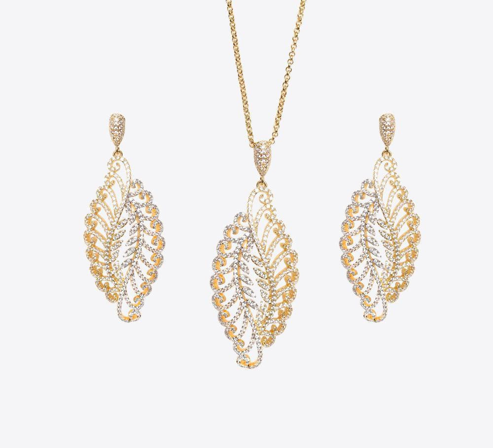 Buy Golden Twisted Leaf  Pendant Sets Online In Pakistan