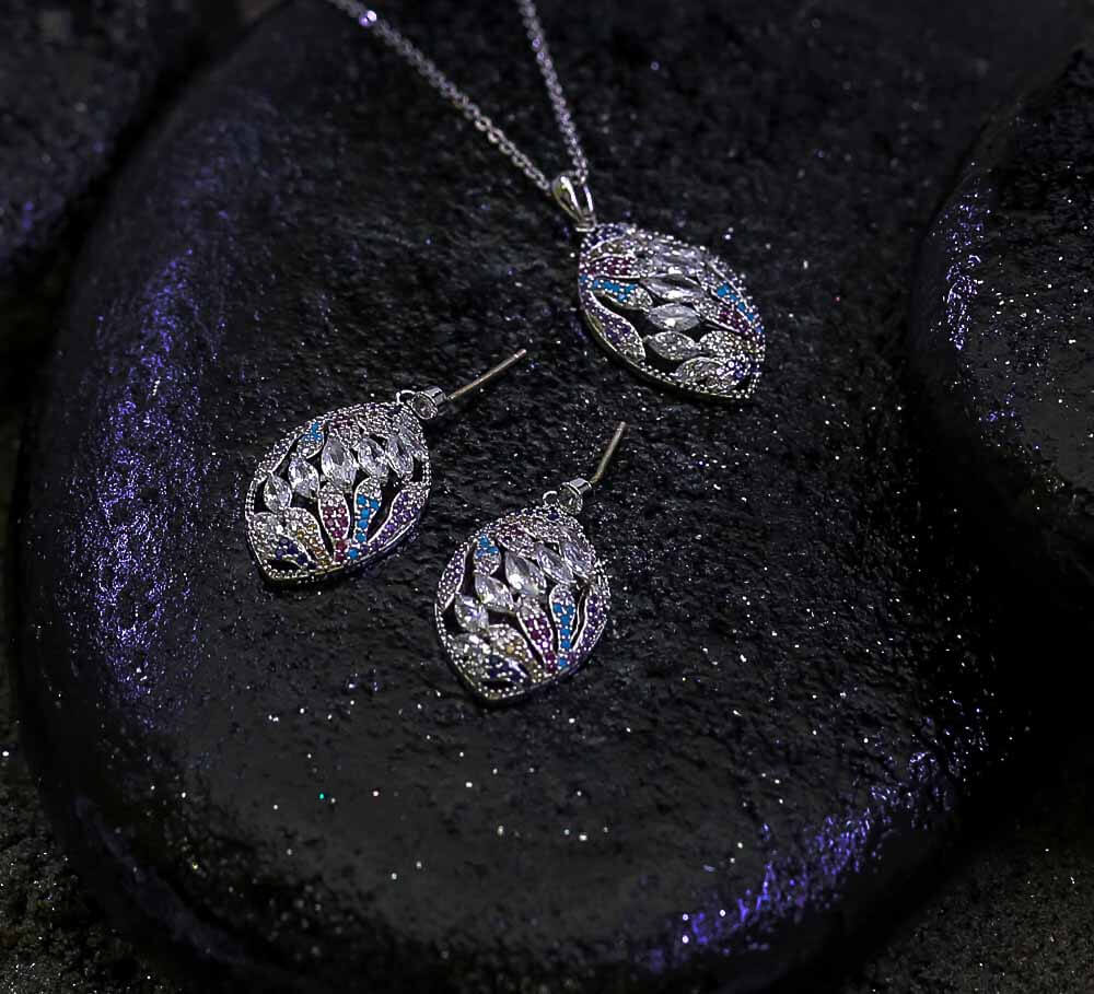 Buy Silver with Multicolour Women Pendant Sets Online In Pakistan
