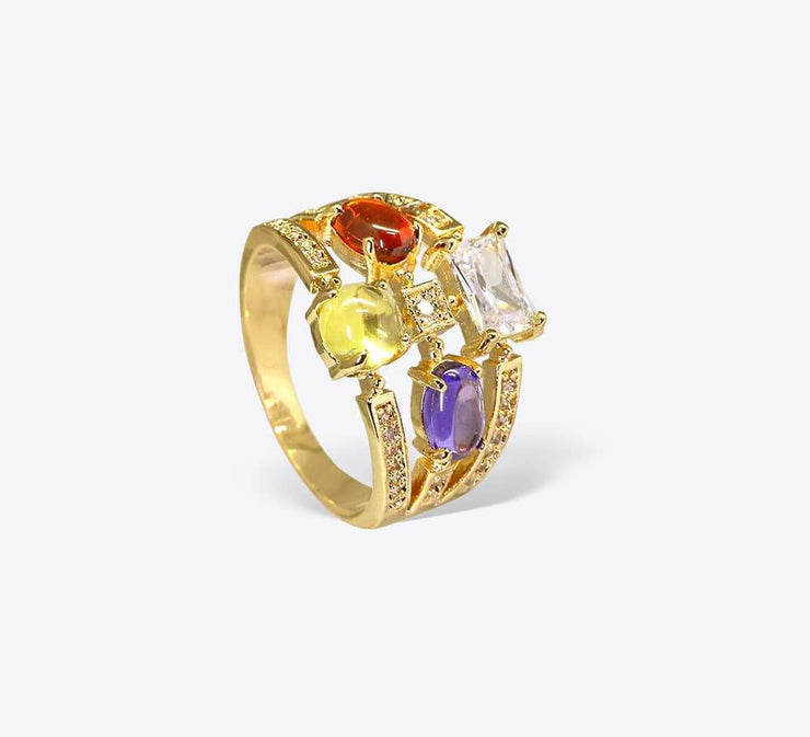 Buy Multicolour Stones Women Ring Online In Pakistan