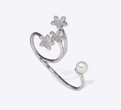 Floral Pearl Two Finger Ring