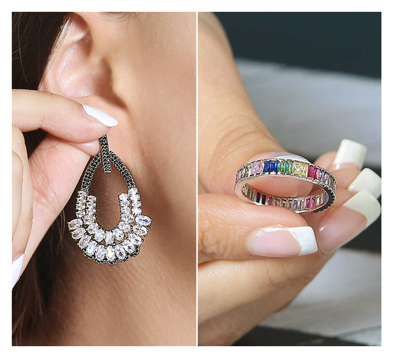 OUTLINED PEAR EARRINGS & SILVER RAINBOW RING