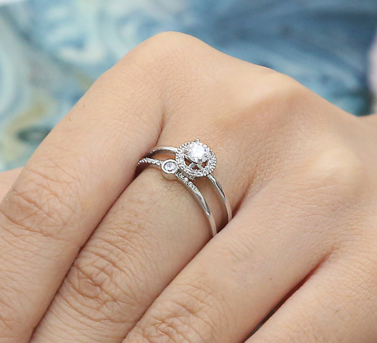 Solitaire Couple Ring – Silver