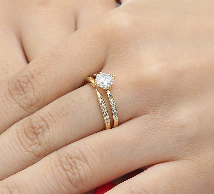 Solitaire Wishbone Couple Ring