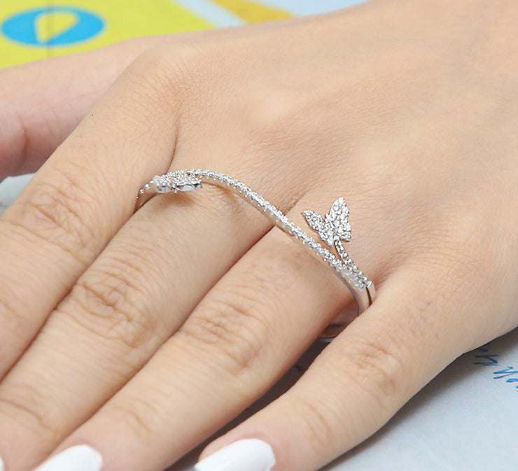Flying Butterfly Two Finger Ring – Silver