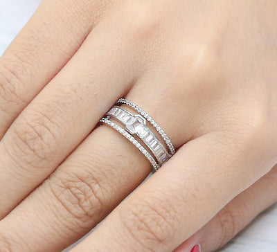 Glistening Cocktail Ring – Silver
