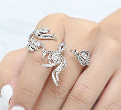 Embellished Two Finger Ring – Silver