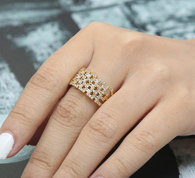 Bricked Adjustable Pave Ring – Golden