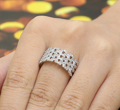 Bricked Adjustable Pave Ring – Silver
