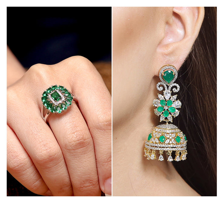 Green Stones Pave Ring & Drop Earring